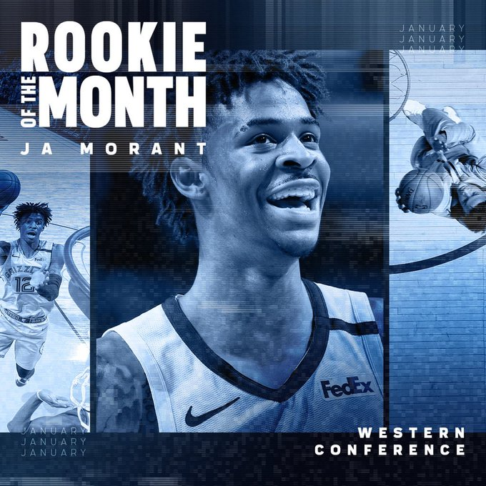 Ja Morant ( - named The Kia NBA Rookie of the Month for January Western Conference …