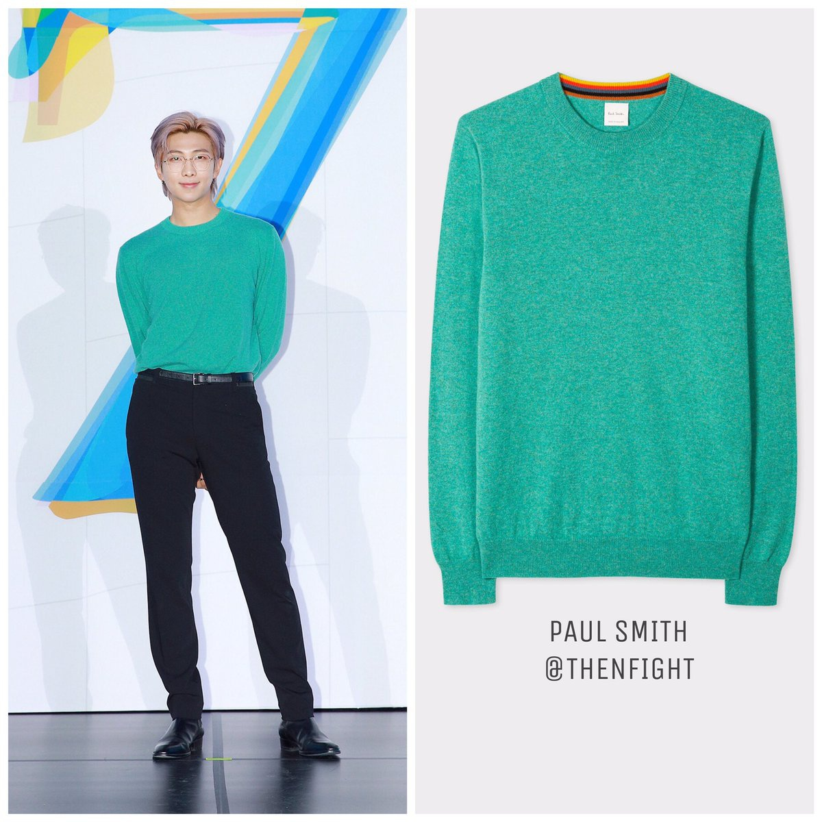 200224 BTS Global Press Conference 'MAP OF THE SOUL : 7' PAUL SMITH Men's Turquoise Cashmere Sweater