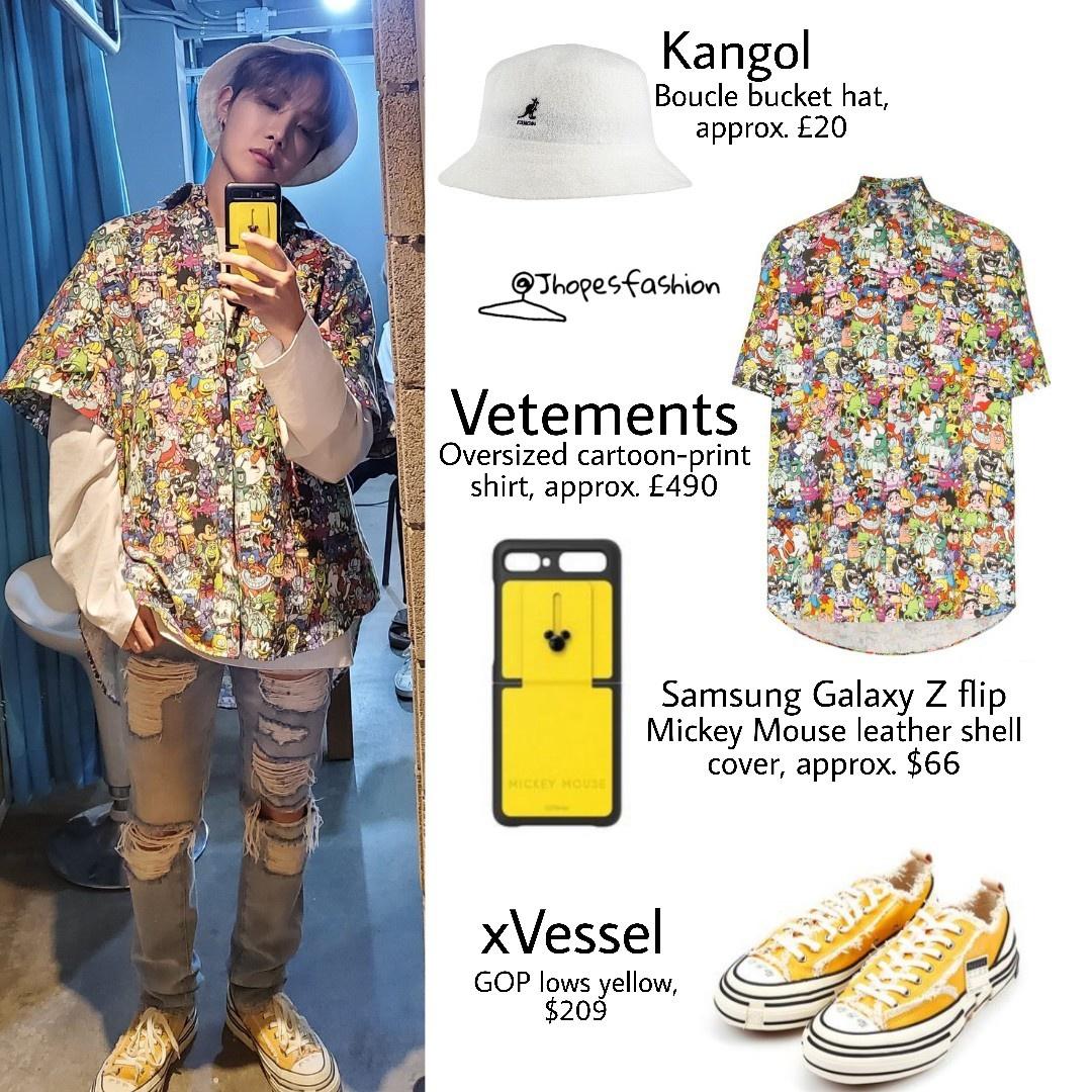 J Hope S Kangol Bucket Hat Vetements Cartoon Print Shirt Samsung Galaxy Flip Mickey Mouse Phone Case And Xvessel Shoes 200330 Twitter Post Kpop Profiles Makestar