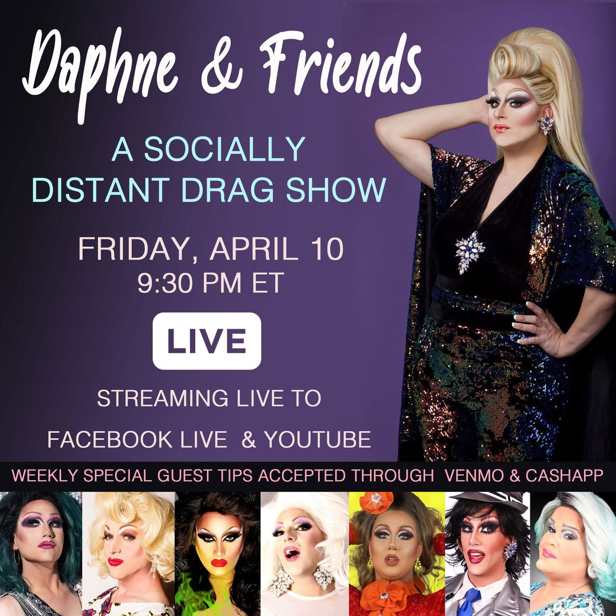 """""""Sorry Instagram, it's over! I'm seeing Facebook and YouTube now."""" Daphne & Friends - A Socially Distant Drag Show NOW Streaming LIVE to Facebook or Daphne Ferraro's YouTube ch at 9:30PM ET. Tune-in & Tip: …"""