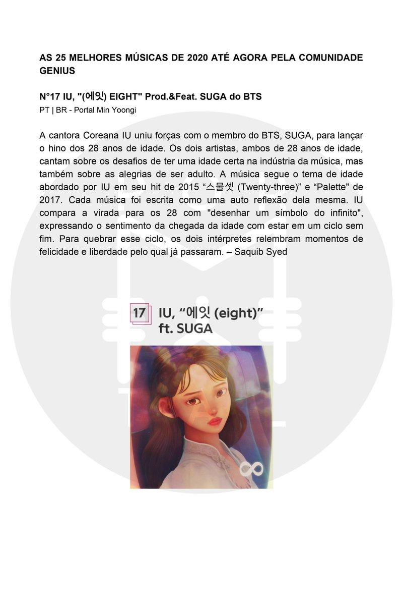 """Trad 200715 Eight by (Prod.&Feat. ficou em na lista das 25 Melhores Músicas de 2020 Até Agora Pela Comunidade Genius. """"A cantora Coreana IU uniu forças com o membro do BTS, SUGA, para lançar o hino dos 28 anos de idade."""" 📍 …"""