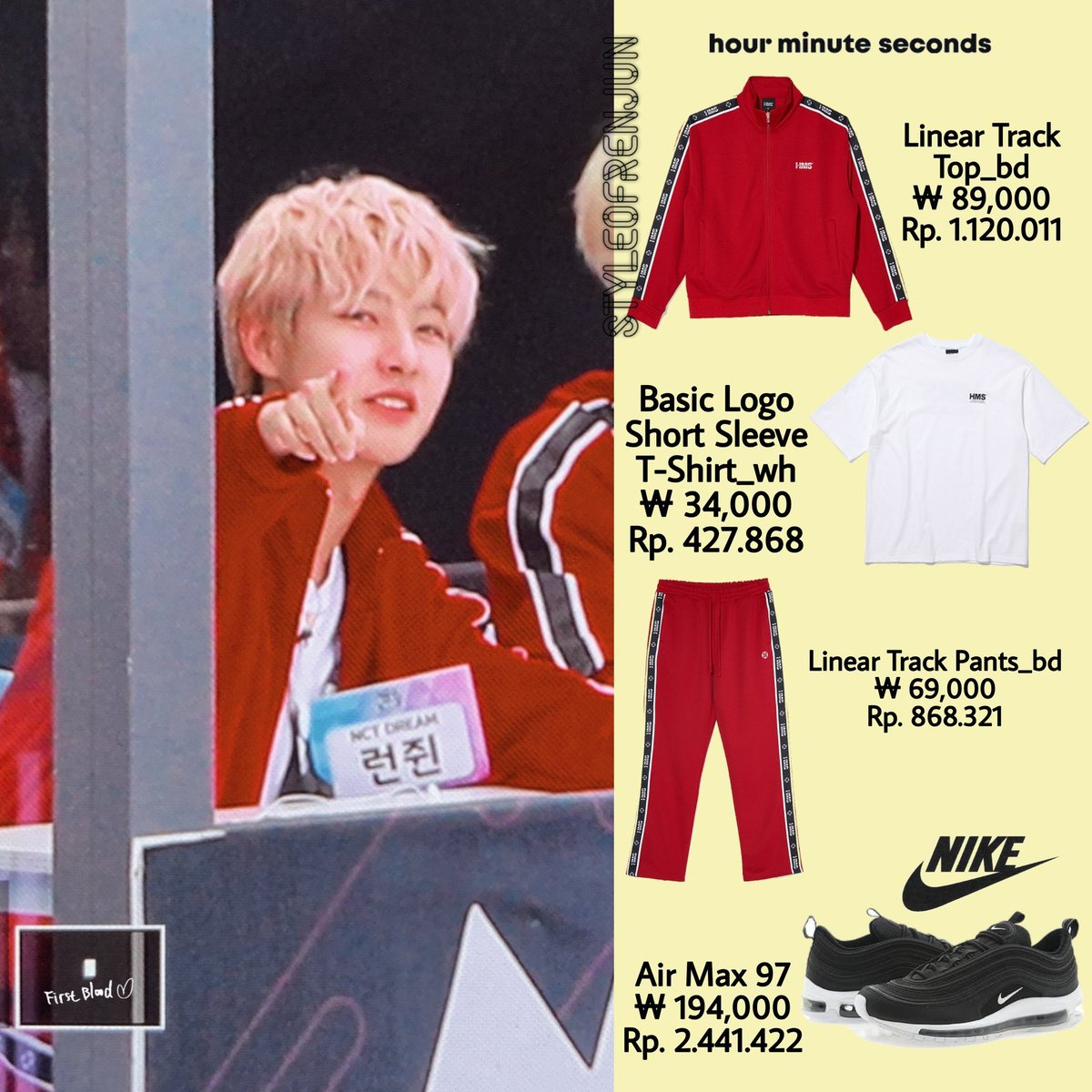 200914 NCT DREAM 아육대 - 💚💛 Hour Minute Seconds - Track Suit & Tee Nike - Air Max 97 Track Suit © : 💚