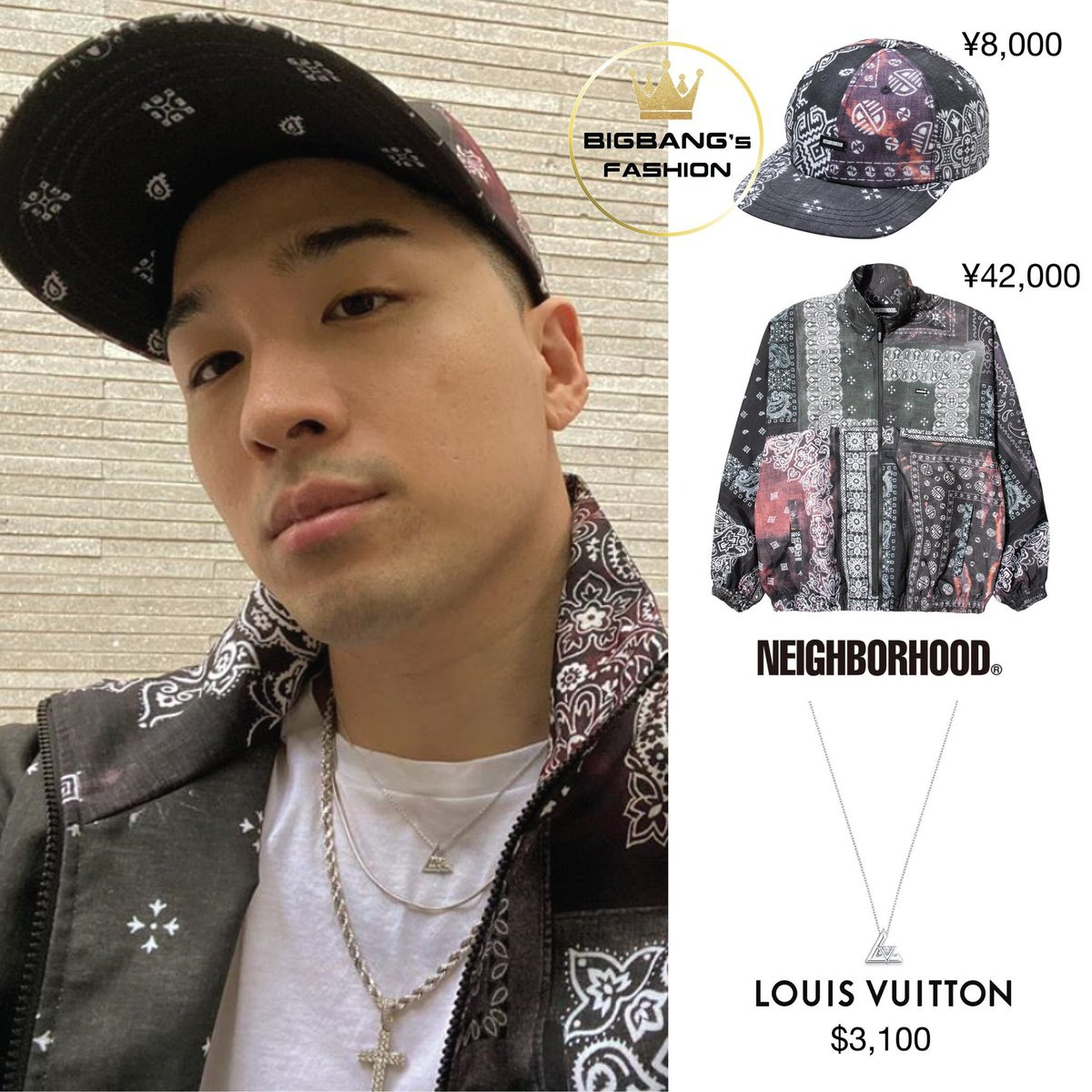 200915 __youngbae__ IG Update ✨ DAD-B / E-CAP (¥8,000) ✨ TRACK-B / E-JKT (¥42,000) ✨ LV VOLT ONE SMALL PENDANT, WHITE GOLD AND DIAMOND ($3,100)