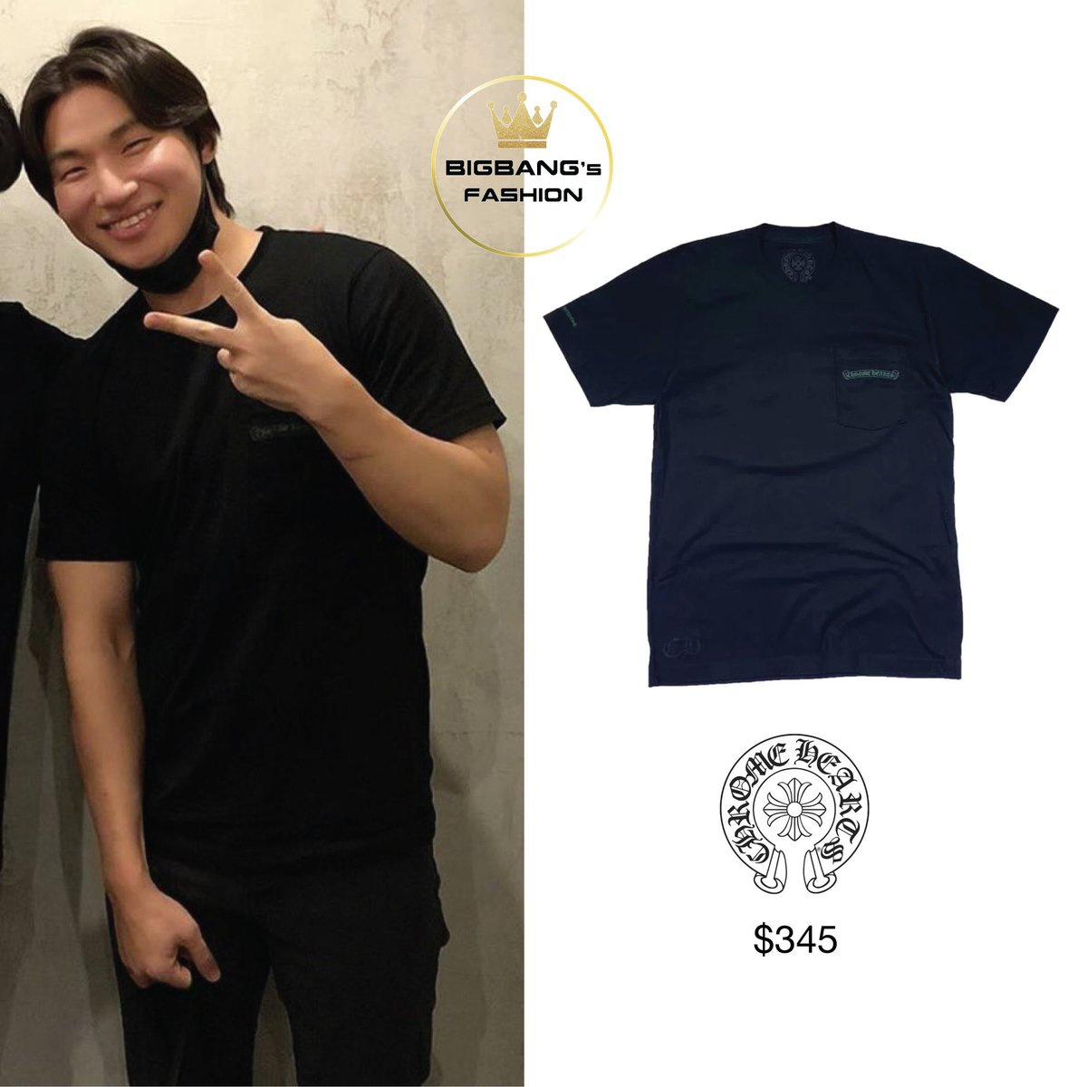 200916 eskimo7474 IG update with Daesung ✨ Cemetery Cross Print Black T-Shirt ($345)