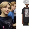 200912   Jimin Fashion Wearing OFF-WHITE caravaggio t-shirt in black (sold out)